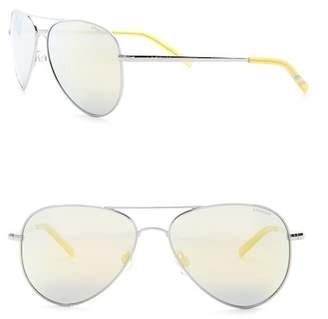 POLAROID EYEWEAR Women's Aviator 56mm Polarized Metal Frame Sunglasses