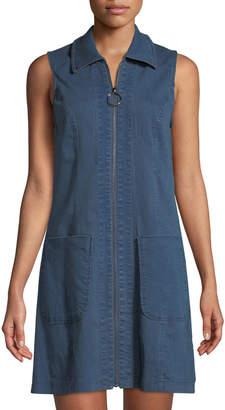 Neiman Marcus Sleeveless Zip-Front Denim Shirtdress
