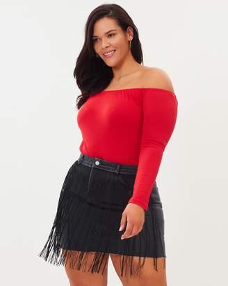 Curve Fringe Detail Denim Skirt