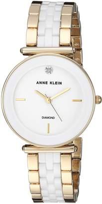 Anne Klein Women's Quartz Metal and Ceramic Dress Watch, Color:White (Model: AK/3158WTGB)