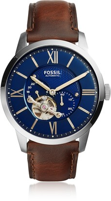 Fossil Townsman Automatic Brown Leather and Blue Dial Men's Watch