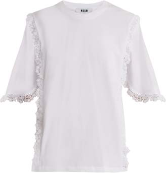 MSGM Macramé lace-trimmed cotton T-shirt