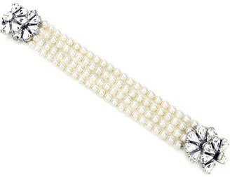 Ben-Amun Four-Row Pearly Beaded Fan-Motif Bracelet eNlNtNIf