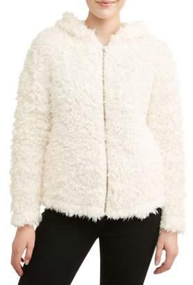 Self Esteem Juniors' Fuzzy Shearling Hooded Jacket