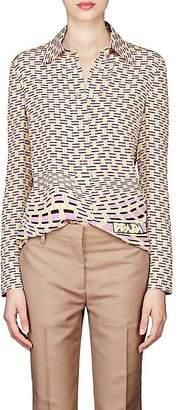 Prada Women's Geometric-Print Silk Blouse