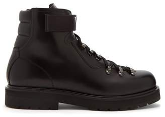 Valentino Vltn Lace Up Leather Boots - Mens - Black