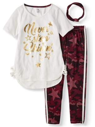 ONE STEP UP Graphic T-Shirt And Camo Legging, 2-Piece Outfit Set With Headband (Little Girls & Big Girls)