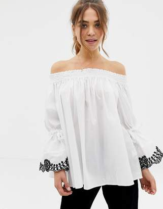 Glamorous off shoulder embroidered sleeve top