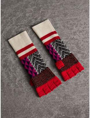 Burberry Wool Cashmere Blend Fingerless Patchwork Gloves