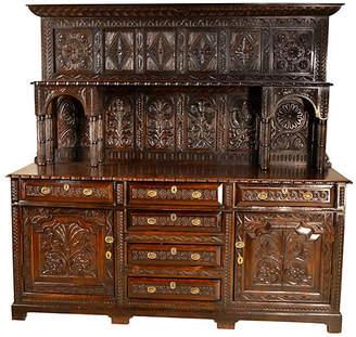 One Kings Lane Vintage Welsh Carved Oak Dresser - C. 1720 - Black Sheep Antiques