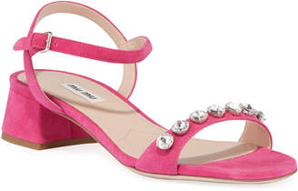 Miu Miu Suede Ankle-Strap Sandals with Crystals
