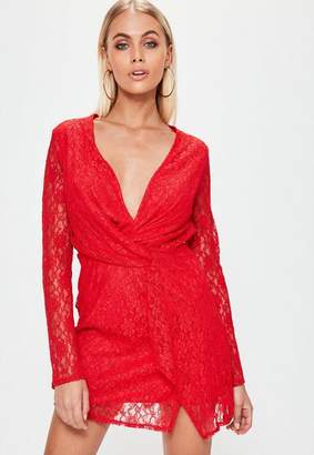 Missguided Red Lace Twist Front Shift Dress, Red