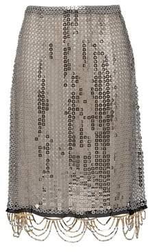 Prada Jeweled Metal Mesh Skirt