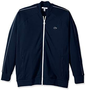Lacoste Men's Full Zip Waffle Track Jacket with White Trim Sweater