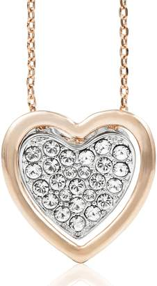 clear Rose & White Gold Plated Heart Pendant Necklace With Sparkling Crystals by Matashi