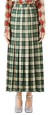 Gucci Women's Wool Tartan Pleated Maxi Skirt