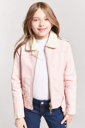 Forever 21 Girls Faux Shearling Moto Jacket (Kids)