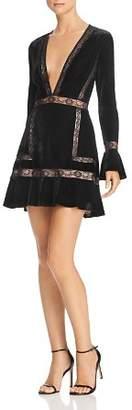 Saylor Lace-Trimmed Velvet Mini Dress