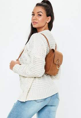 Missguided Camel Ring Detail Suedette Backpack