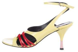 Kenzo Patent Leather Ankle Strap Sandals Yellow Patent Leather Ankle Strap Sandals