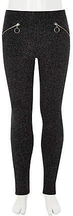 Girls Black glitter disco leggings