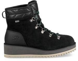 UGG Women's Birch Lace-Up Shearling Leather Boots - Black - Size 12
