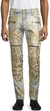 Metallic-Print Skinny Jeans