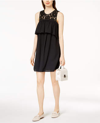 Maison Jules Ruffled Lace-Trim Dress, Created for Macy's