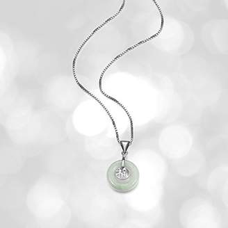 Good Fortune Sterling Silver Genuine Green Jade Pendant Necklace