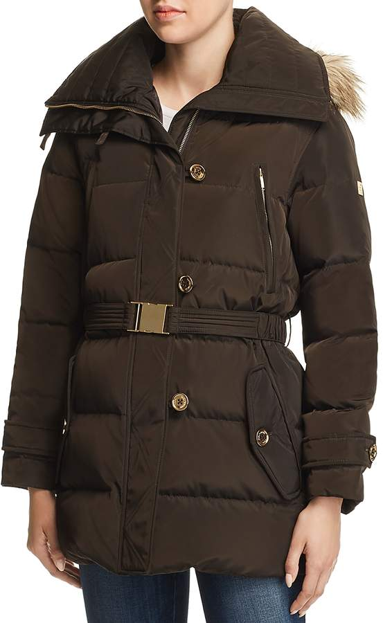 Belted Button-Front Puffer Coat