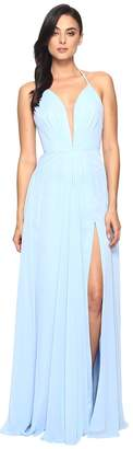 Faviana Chiffon V-Neck Gown w/ Full Skirt 7747 Women's Dress