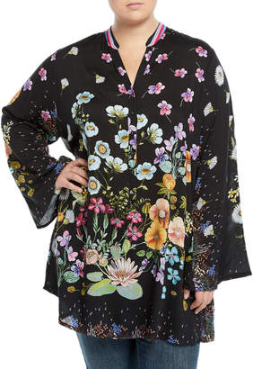 Johnny Was Plus Lentino Floral-Print Tunic , Plus Size