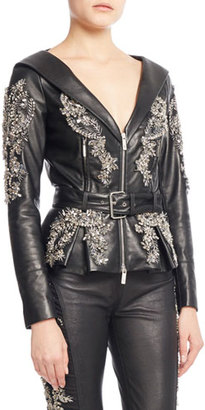 Zuhair Murad Crystal Beaded Leather Jacket, Jet $6,300 thestylecure.com