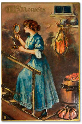 "Vintage Apple Collection 'Halloween Blue Dress Mirror' Canvas Art - 30"" x 47"""