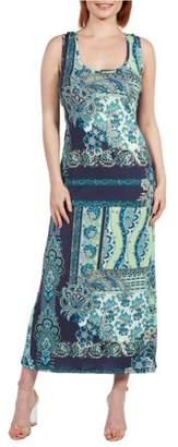 24/7 Comfort Apparel Women's Renee Blue and Green Maxi Dress