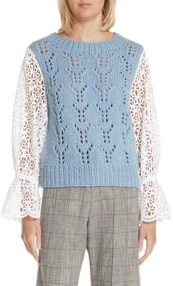 Sea Eyelet Sleeve Wool Blend Sweater