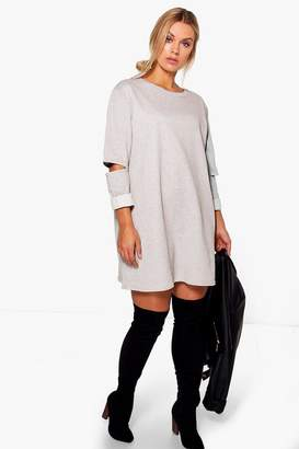 boohoo Plus Cut Out Sleeve Sweat Dress
