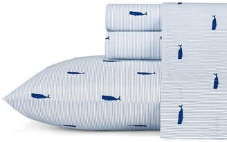 Nautica Whale Stripe King Blue Sheet Set Bedding