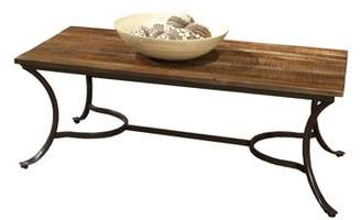 """Emerald Home Innsbruck Medium Brown 47.5"""" Coffee Table with Solid Wood Top And Curved Metal Base"""