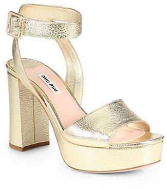 Miu MiuMiu Miu Madras Metallic Leather Ankle-Strap Platform Sandals