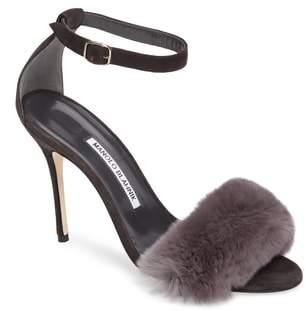 Manolo Blahnik Mincha Genuine Rabbit Fur Sandal
