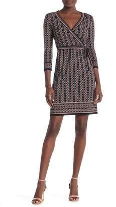 Max Studio Printed 3\u002F4 Sleeve Jersey Dress