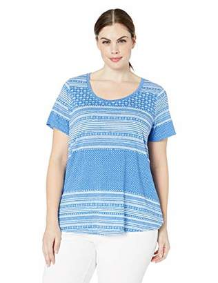 Lucky Brand Women's Size Plus Allover Print TEE