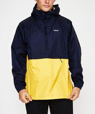 Patagonia Torrentshell Pullover Navy Blue Rugby Yellow