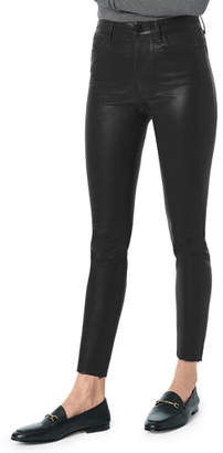 Joe's Jeans The Charlie Skinny-Leg Coated Ankle Pants w/ Cut Hem