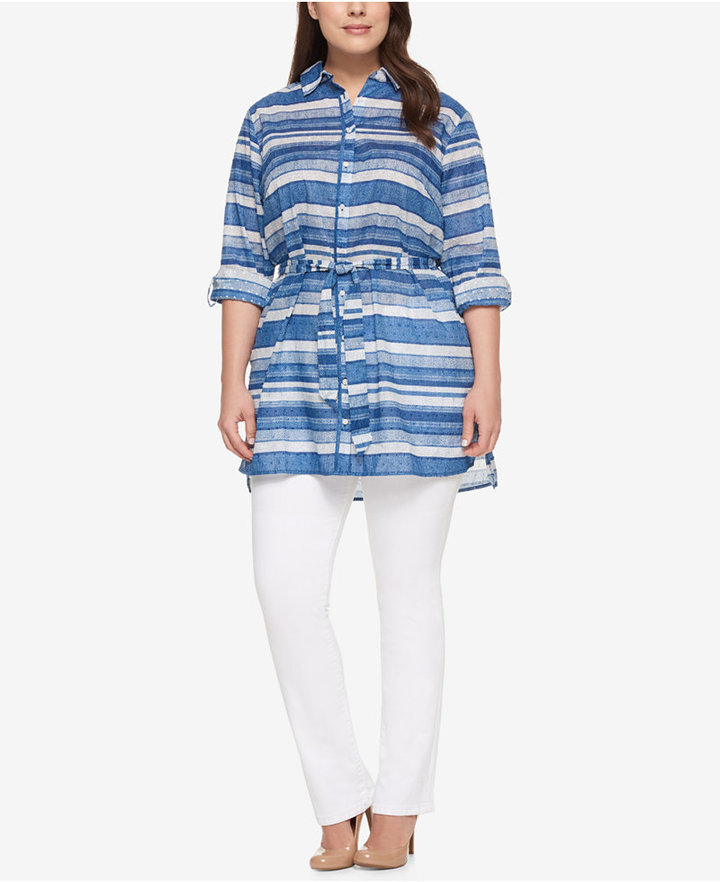 Tommy Hilfiger Tommy Hilfiger Plus Size Cotton Striped Tunic