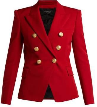 Balmain Double Breasted Wool Grain De Poudre Blazer - Womens - Red