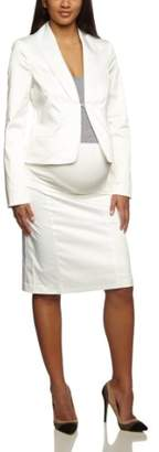 Bellybutton Women's Opaque Reverse Collar Long - regular Jacket - White - - (Brand size: 42)