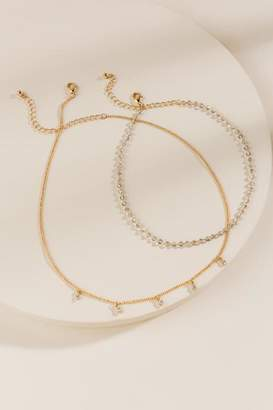 francesca's Emery Beaded Choker Necklace Set - Gray