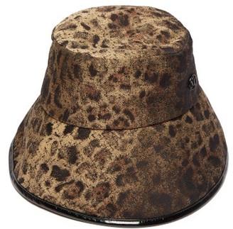 Maison Michel Paulina Leopard Jacquard Bucket Hat - Womens - Khaki